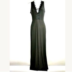 Forever 21 Black Formal Maxi Dress Fitted Lace V